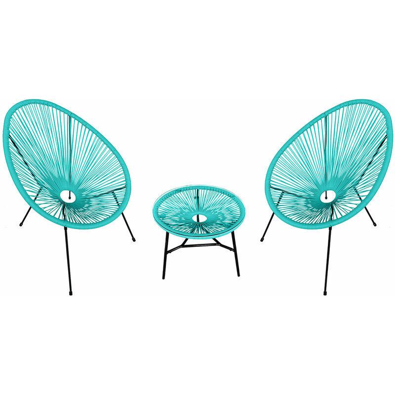 HAPPY GARDEN Ensemble de 2 fauteuils œuf + table ACAPULCO aqua - Bleu
