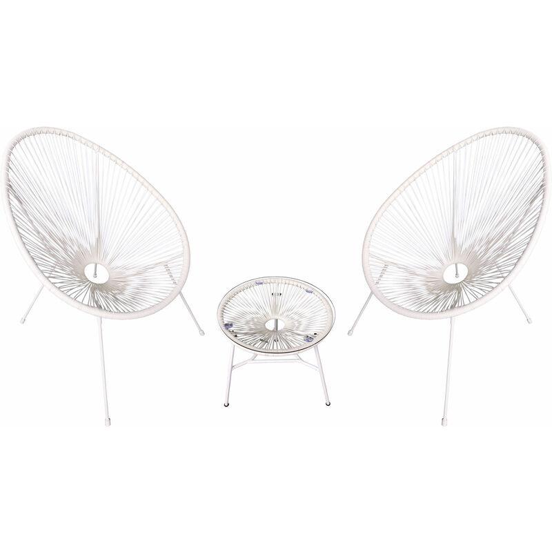 HAPPY GARDEN Ensemble de 2 fauteuils œuf + table ACAPULCO blanc