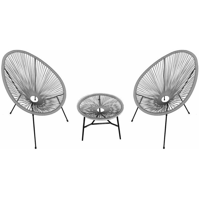HAPPY GARDEN Ensemble de 2 fauteuils œuf + table ACAPULCO gris - Gris