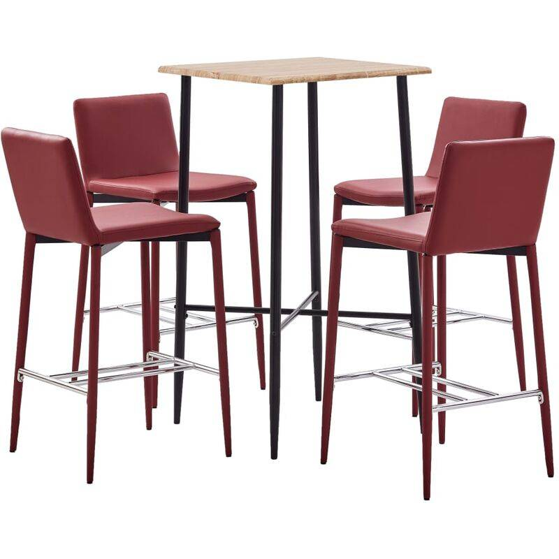 Zqyrlar - Ensemble de bar 5 pcs Similicuir Rouge bordeaux