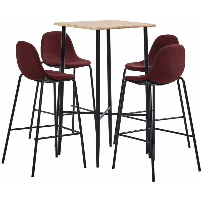 Zqyrlar - Ensemble de bar 5 pcs Tissu Rouge bordeaux
