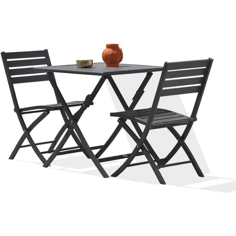 ALUMOB Ensemble table de jardin MARIUS pliante en aluminium 70x70 cm + 2 chaises
