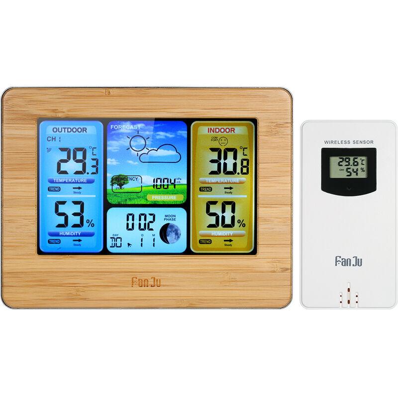 FANJU LCD ecran couleur previsions meteo reveil thermometre interieur et exterieur et