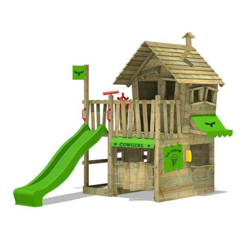 Fatmoose Aire de jeux Portique bois CountryCow avec toboggan vert pomme Maison enfant