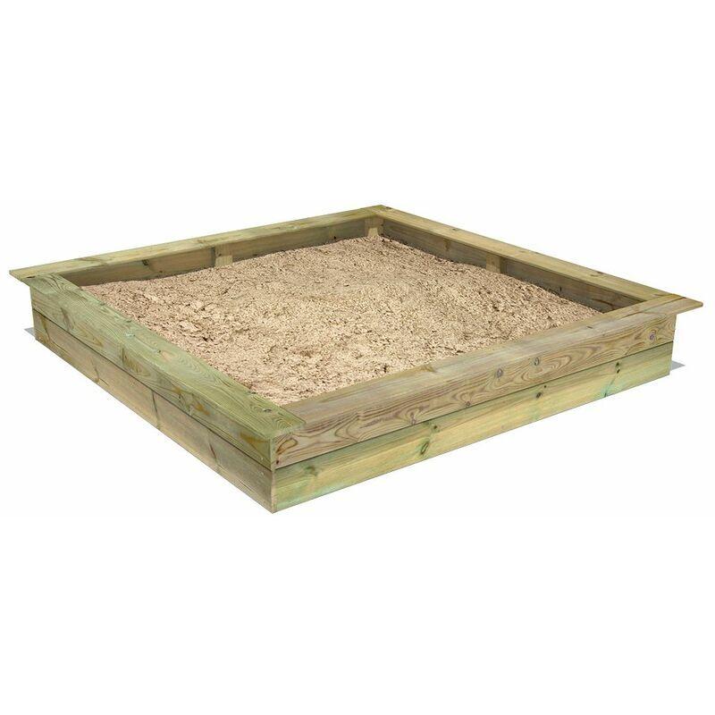 Fatmoose Bac à sable PowerPit 195 x 195 - imprégné bois - oite à sable, bac à sable bois