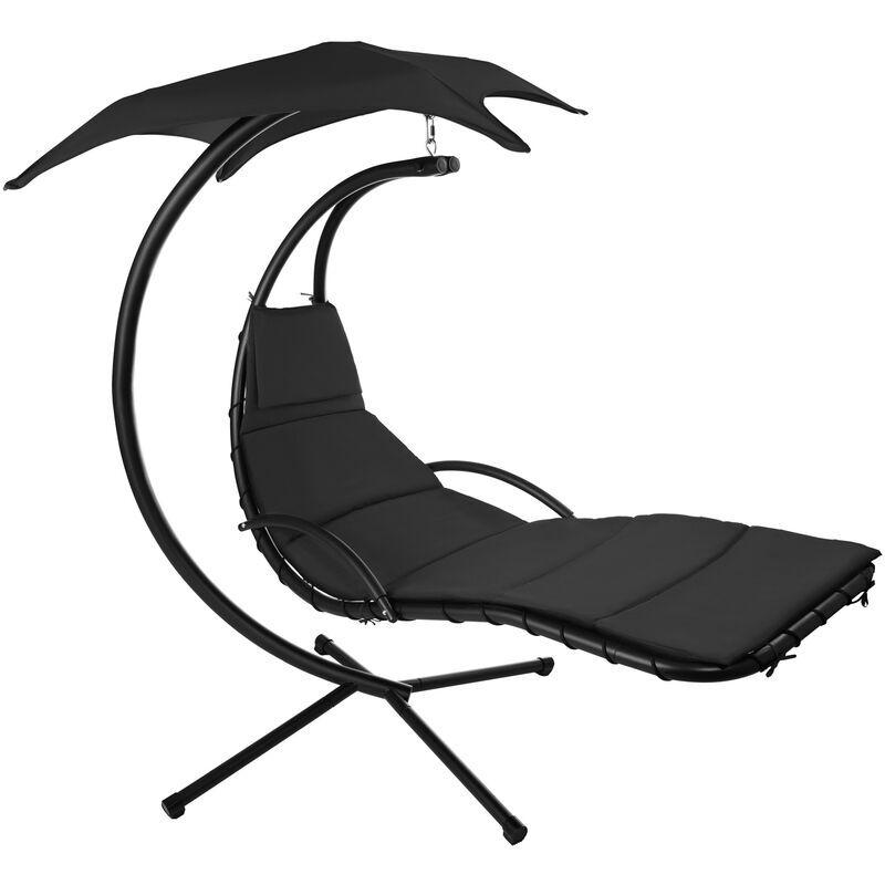 TECTAKE Fauteuil Suspendu avec Pare-Soleil et Support en Acier 195 cm x 118 cm x 202 cm