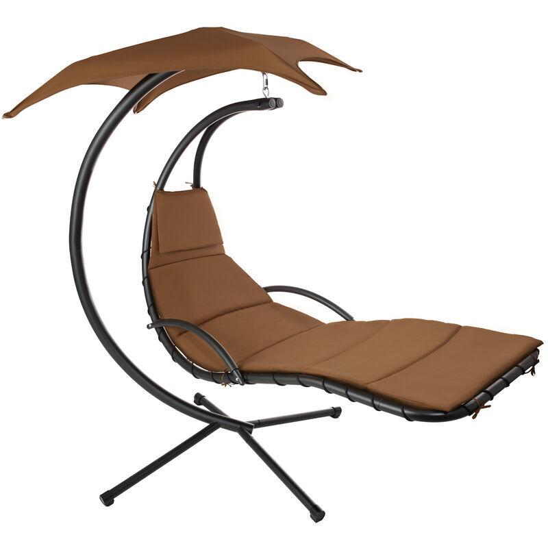 Tectake - Fauteuil Suspendu avec Pare-Soleil et Support en Acier 195 cm x 118