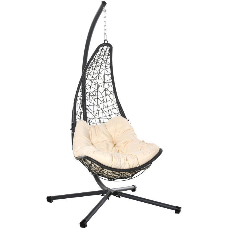 Outsunny - Fauteuil suspendu de jardin - chaise hamac résine tressée avec