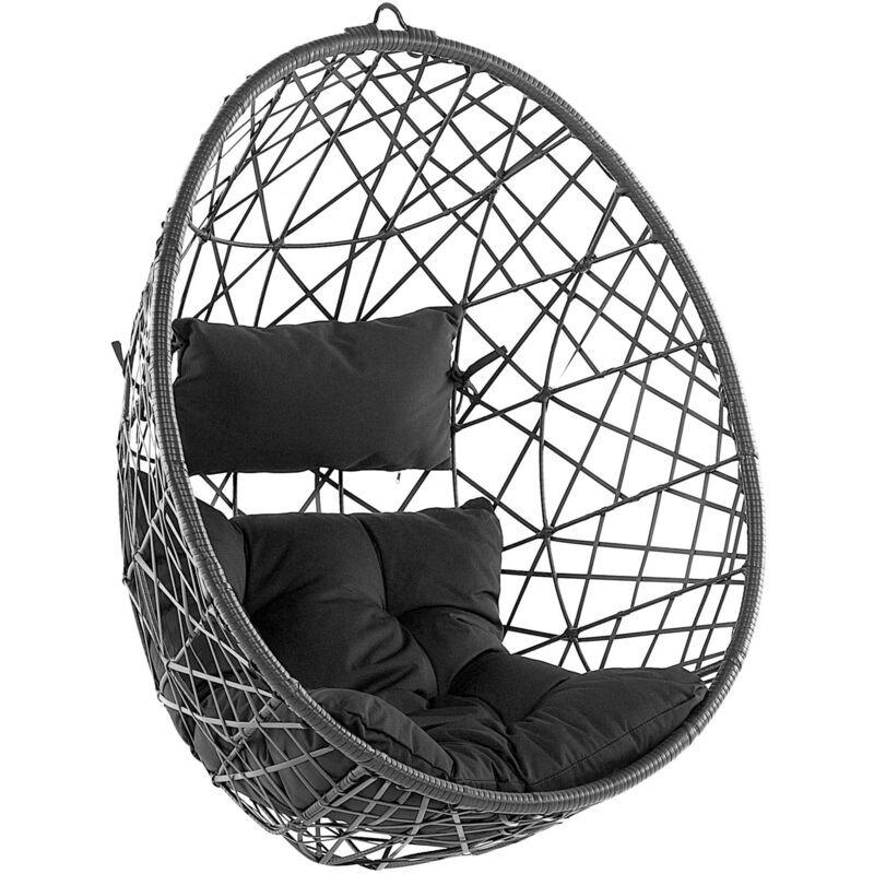 BELIANI Fauteuil suspendu en rotin noir ø 94 cm ALATRI