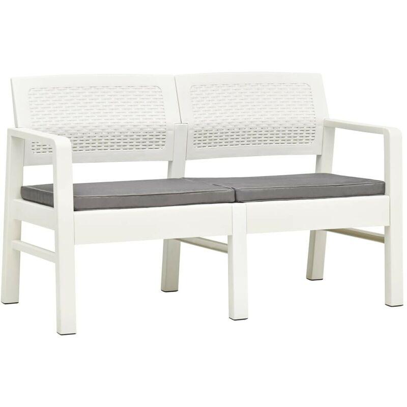 HOMMOO Banc de jardin à 2 places et coussins 120 cm Plastique Blanc HDV46708 - Hommoo