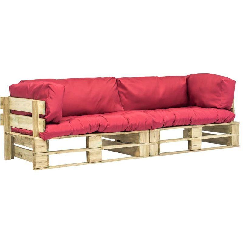 Hommoo Canapés de jardin palette 2 pcs Coussins rouge Pinède FSC VD18231