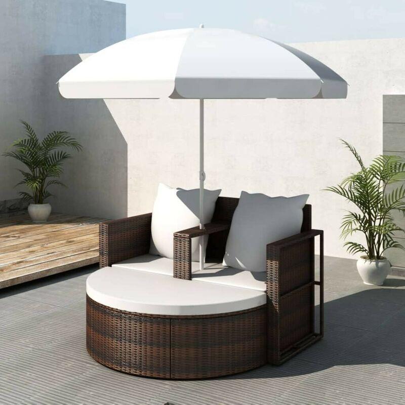 HOMMOO Lit de jardin avec parasol Marron Résine tressée HDV26222 - Hommoo