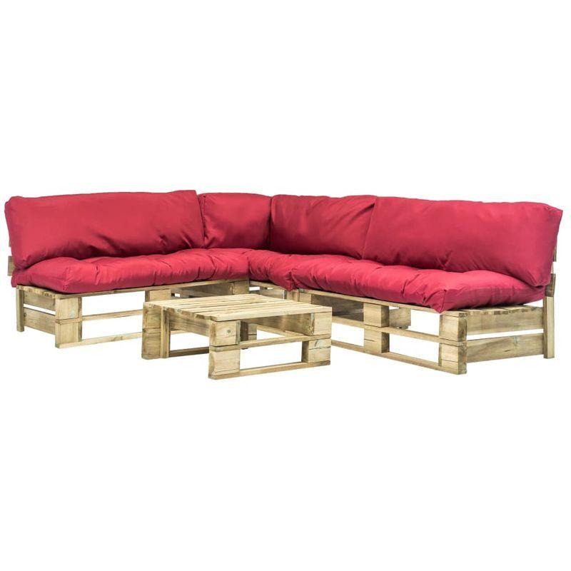Hommoo Mobilier de jardin 4 pcs palettes avec coussins rouges Bois FSC VD18237