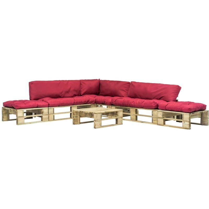 Hommoo Mobilier de jardin 6 pcs palettes avec coussins rouges Bois FSC VD18249