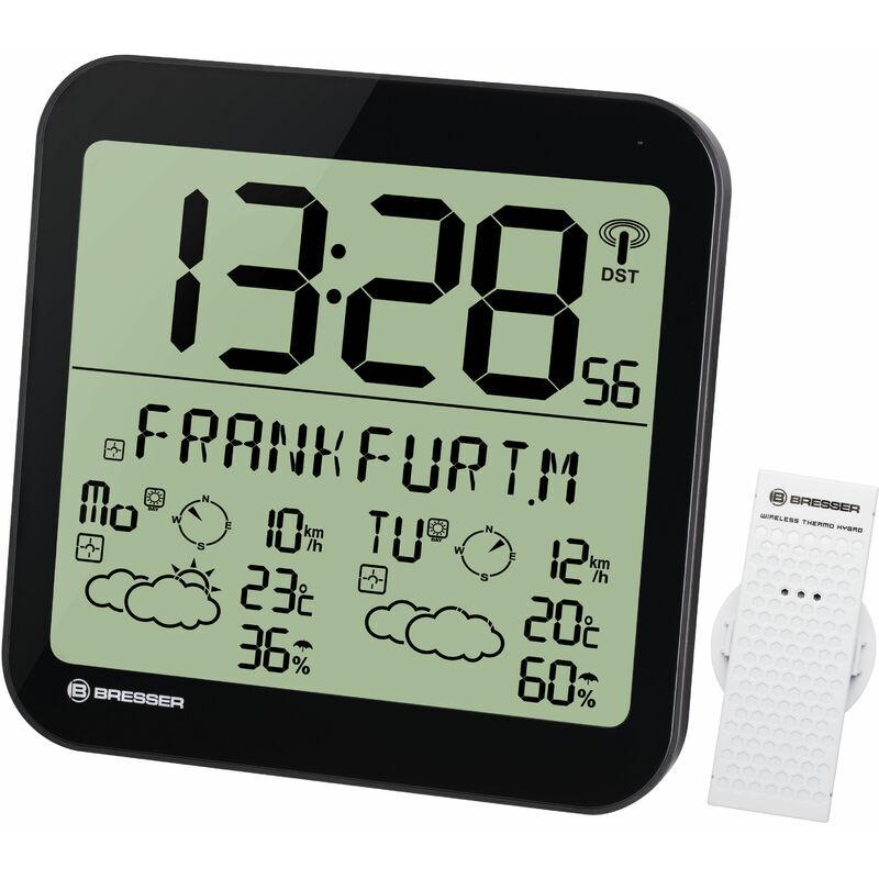 BRESSER Horloge noire avec grand écran LCD et prévisions météos sur 4 jours - Bresser