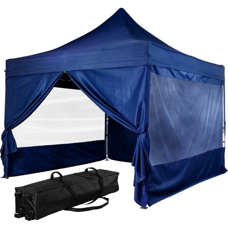 INSTENT Tonnelle PRO 3x3m, Alu, 4 panneaux inclus, couleur bleu, avec sac de