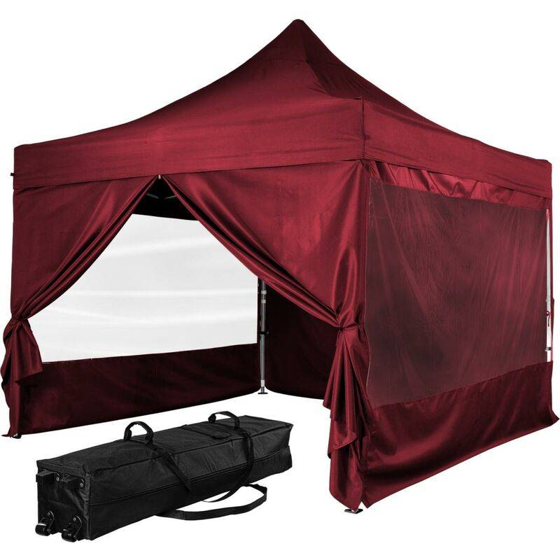 INSTENT Tonnelle PRO 3x3m, Alu, 4 panneaux inclus, couleur rouge, avec sac de