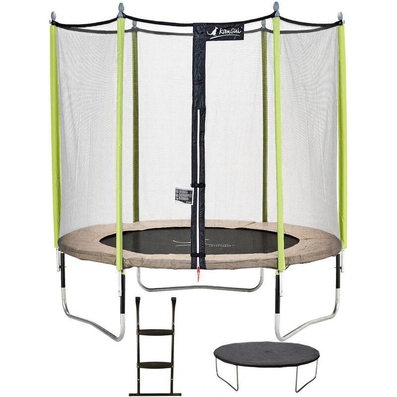 KANGUI Trampoline de jardin 244 cm + filet de sécurité + échelle + bâche de protection