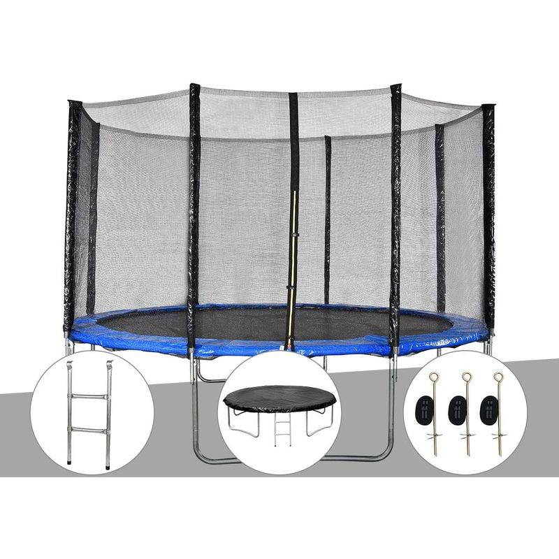 JARDIDECO Kit trampoline Cronos Ø 3,66 m Bleu + Echelle + Bâche de protection + Kit