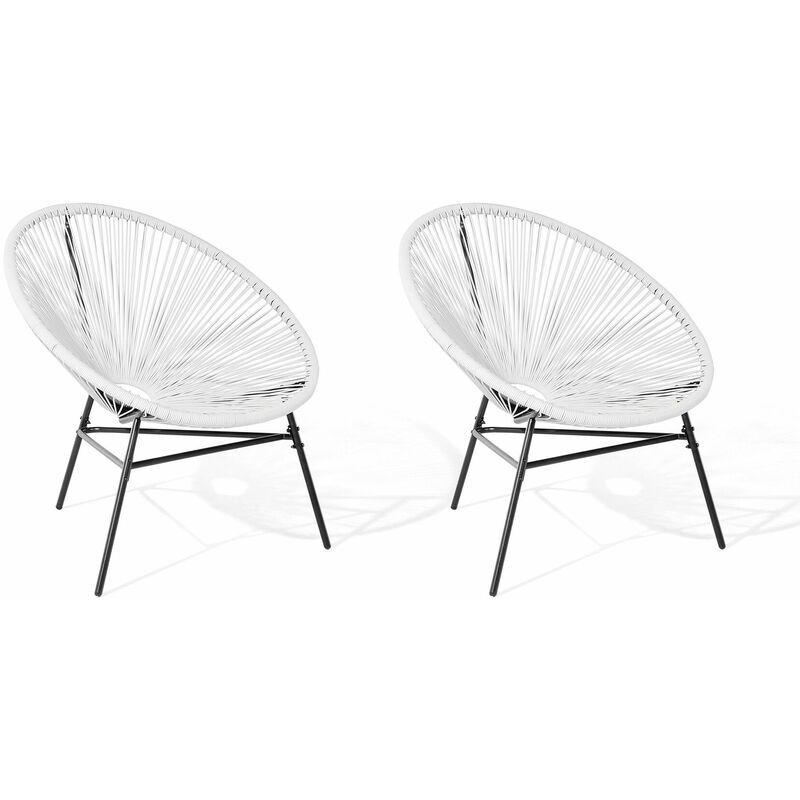 BELIANI Lot de 2 fauteuils spaghetti blancs pour intérieur et extérieur ACAPULCO