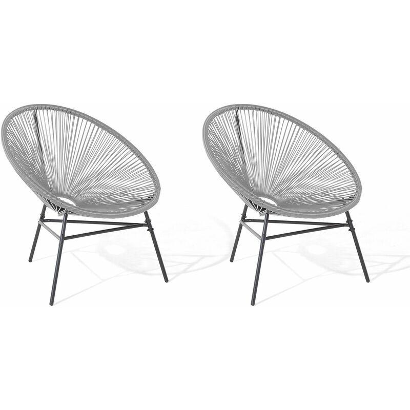 BELIANI Lot de 2 fauteuils spaghetti gris clair pour intérieur et extérieur ACAPULCO