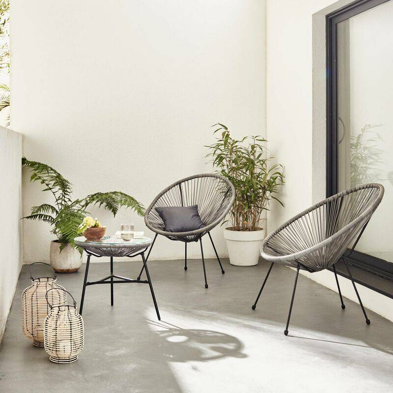 Alice's Garden - Lot de 2 fauteuils ACAPULCO forme d'oeuf avec table d'appoint