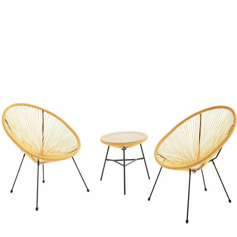 ALICE'S GARDEN Lot de 2 fauteuils ACAPULCO forme d'oeuf avec table d'appoint - Jaune