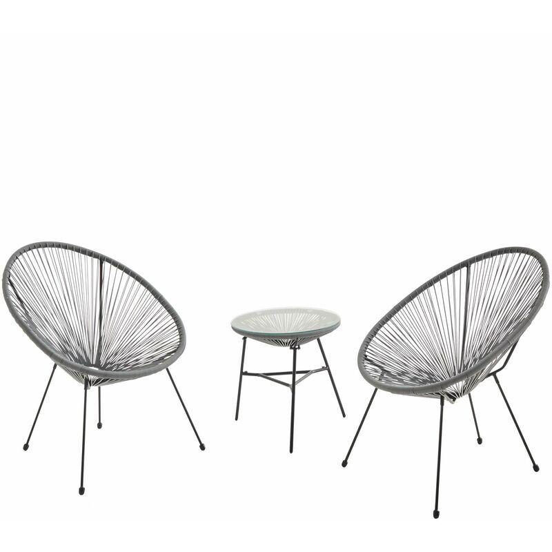 ALICE'S GARDEN Lot de 2 fauteuils ACAPULCO forme d'oeuf avec table d'appoint - Gris foncé