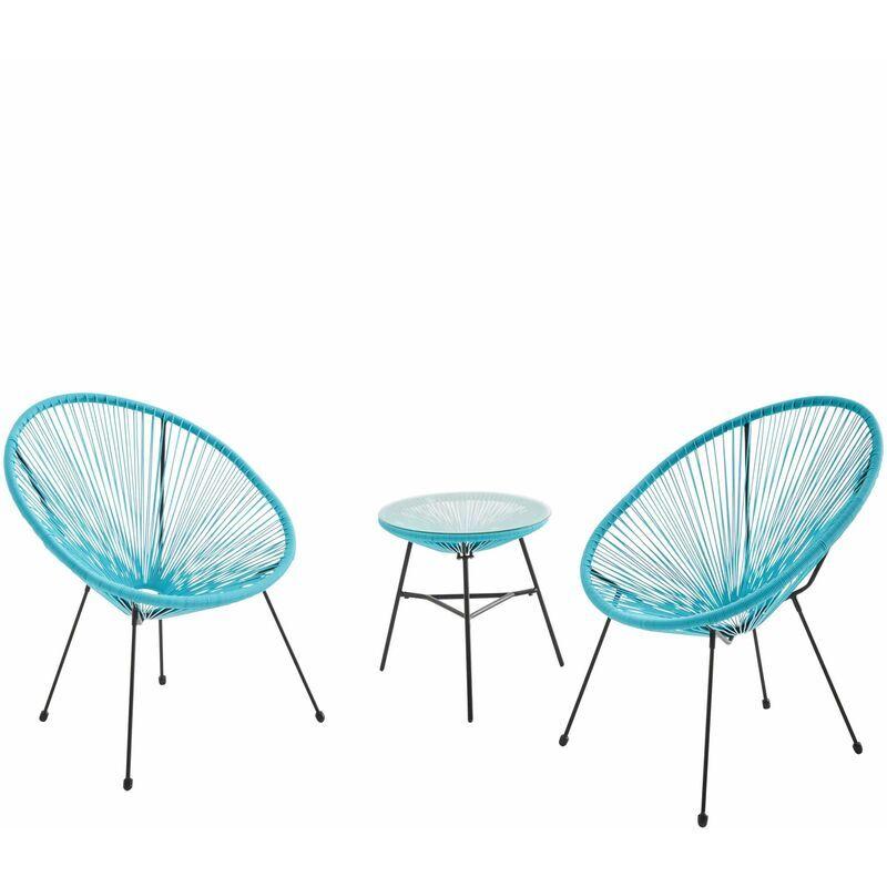 ALICE'S GARDEN Lot de 2 fauteuils ACAPULCO forme d'oeuf avec table d'appoint - turquoise
