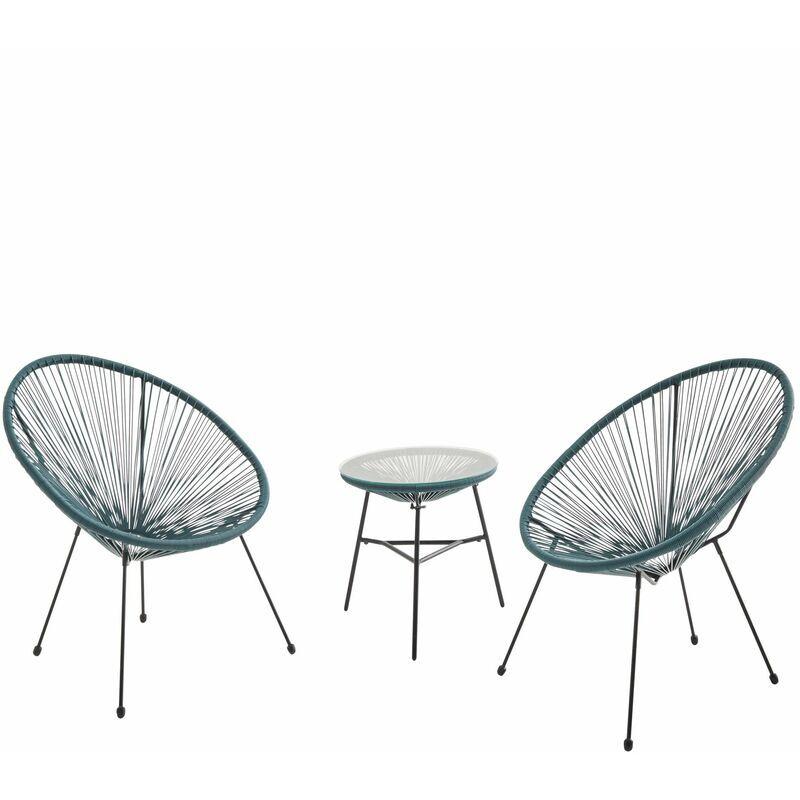 ALICE'S GARDEN Lot de 2 fauteuils ACAPULCO forme d'oeuf avec table d'appoint - bleu canard