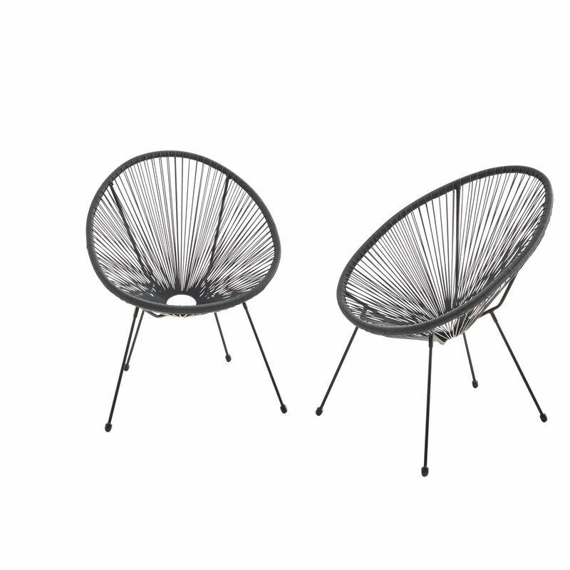 ALICE'S GARDEN Lot de 2 fauteuils design Oeuf - Acapulco Noir - Fauteuils 4 pieds design