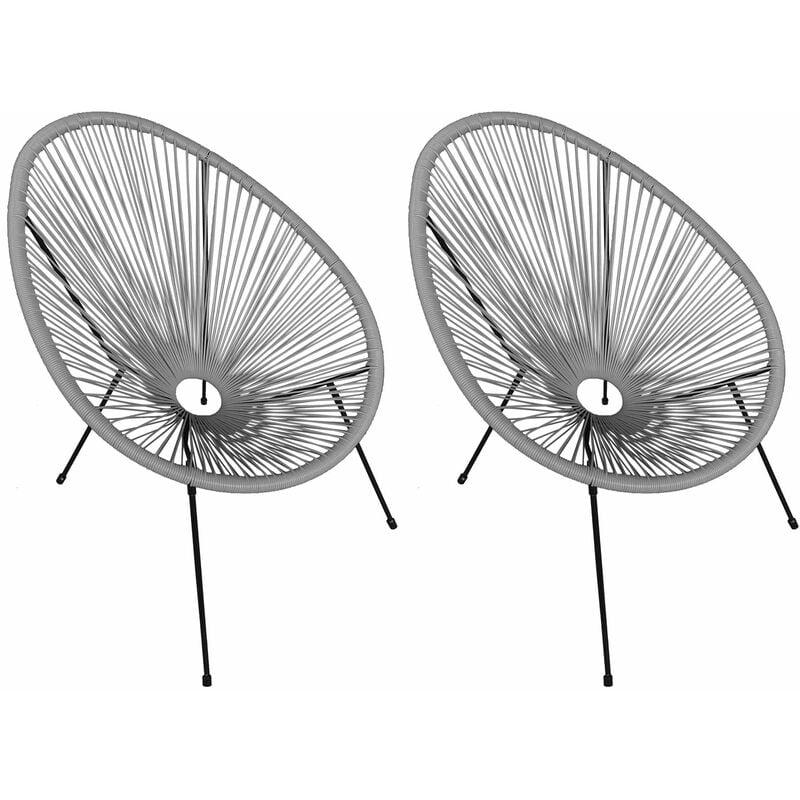 HAPPY GARDEN Lot de 2 fauteuils œuf ACAPULCO gris - Gris