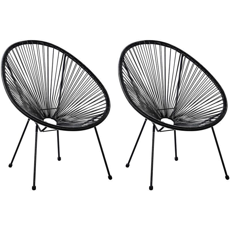 BELIANI Lot de 2 fauteuils spaghetti noir pour intérieur et extérieur ACAPULCO II