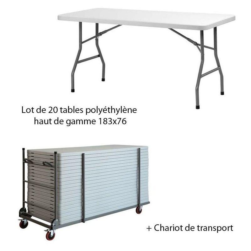 FAP COLLECTIVITES Lot de 20 tables en polyéthylène de Qualité PRO 183x76 avec son Chariot de