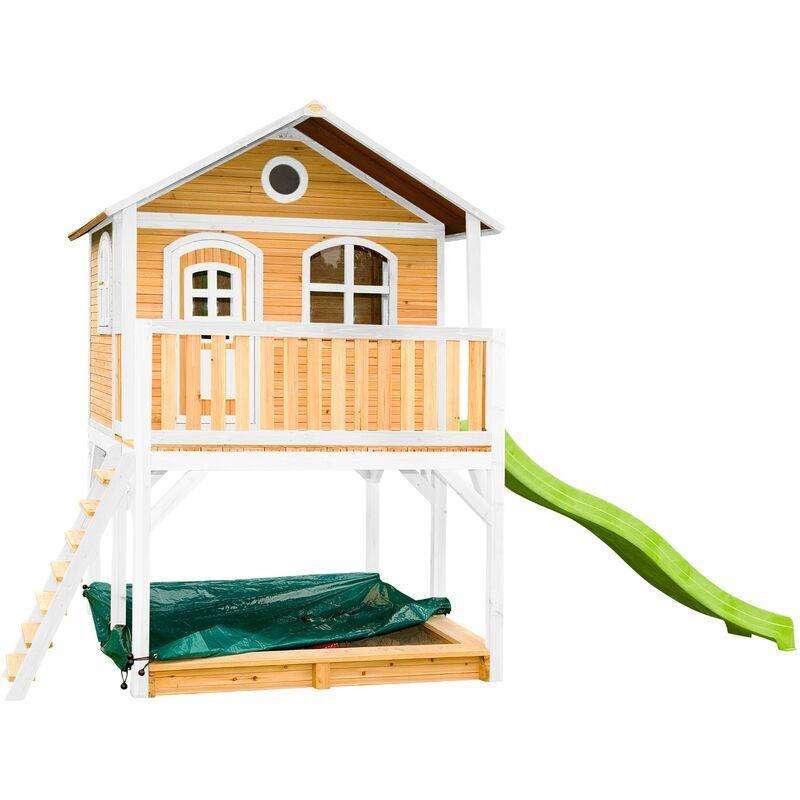 AXI Marc Maison Enfant avec Bac à Sable & Toboggan vert clair   Aire de Jeux