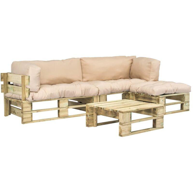 VIDAXL Salon de jardin 4 pcs palettes avec coussins sable Bois