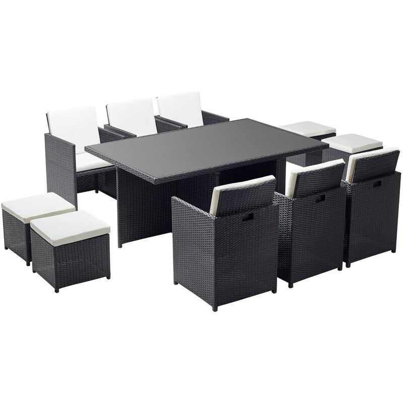 CONCEPT-USINE Monaco 10 : salon de jardin encastrable 10 places en résine tressée noir/blanc