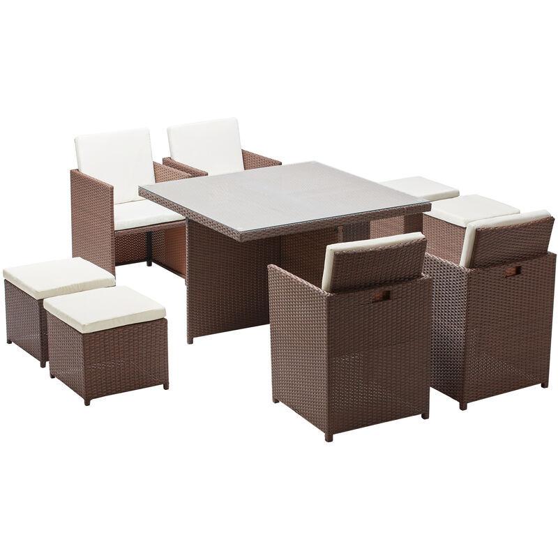 CONCEPT-USINE Monaco 8 : salon de jardin encastrable 8 places en résine tressée marron/blanc