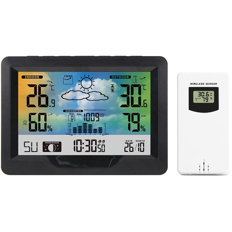 HAPPYSHOPPING Nouvel ecran couleur horloge meteo sans fil previsions meteo reveil thermometre