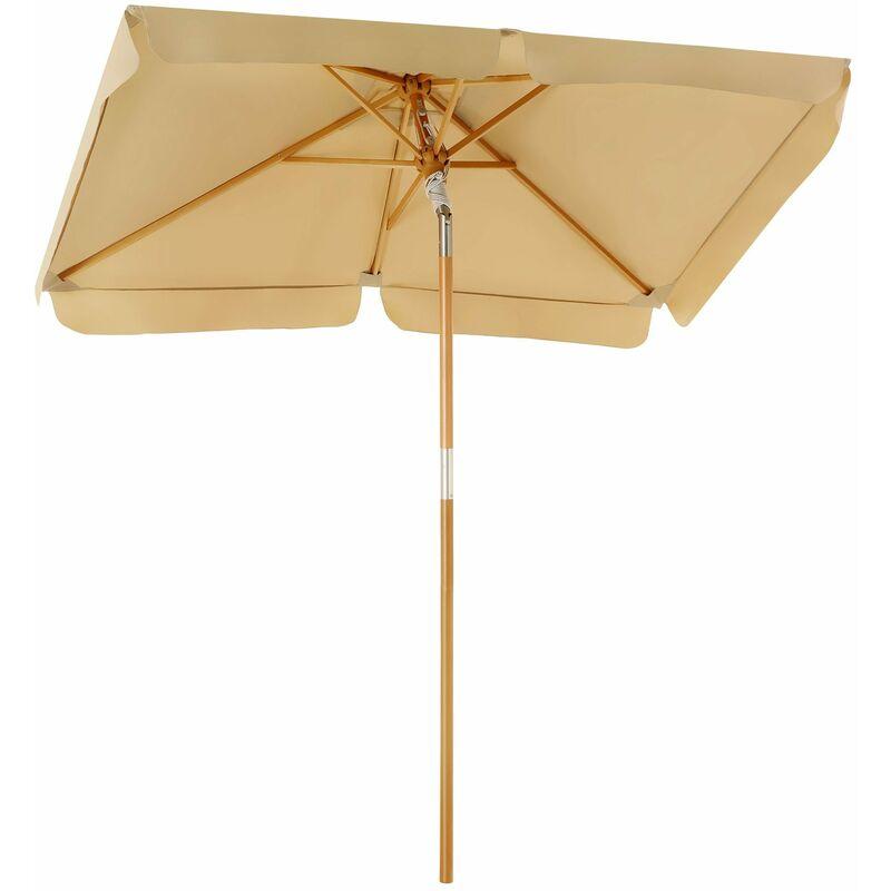 SONGMICS Parasol de Balcon 200 x 125cm, Ombrelle rectangulaire, Protection Solaire,