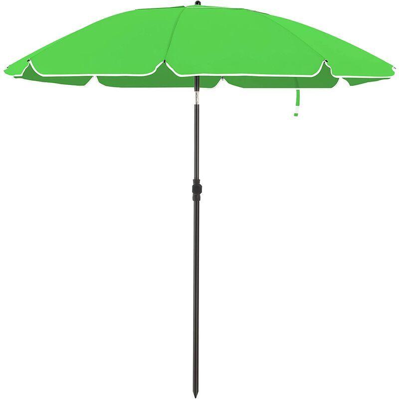 SONGMICS Parasol de jardin Ø 1,6 m, Ombrelle, protection UPF 50+, inclinable, portable,