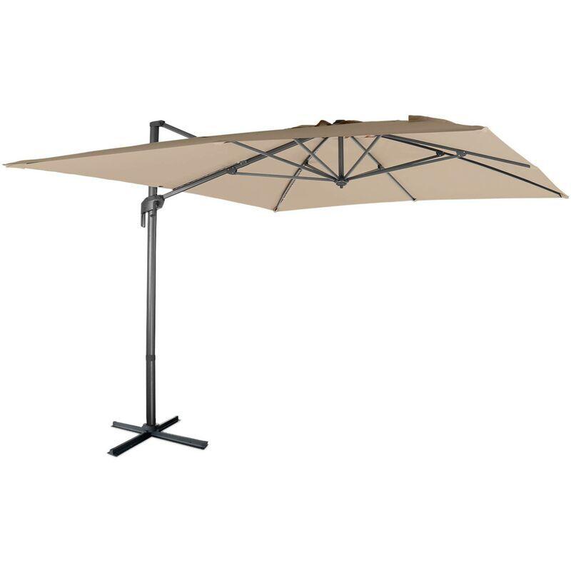 ALICE'S GARDEN Parasol déporté rectangulaire 3 x 4 m – Antibes – beige – parasol exporté,