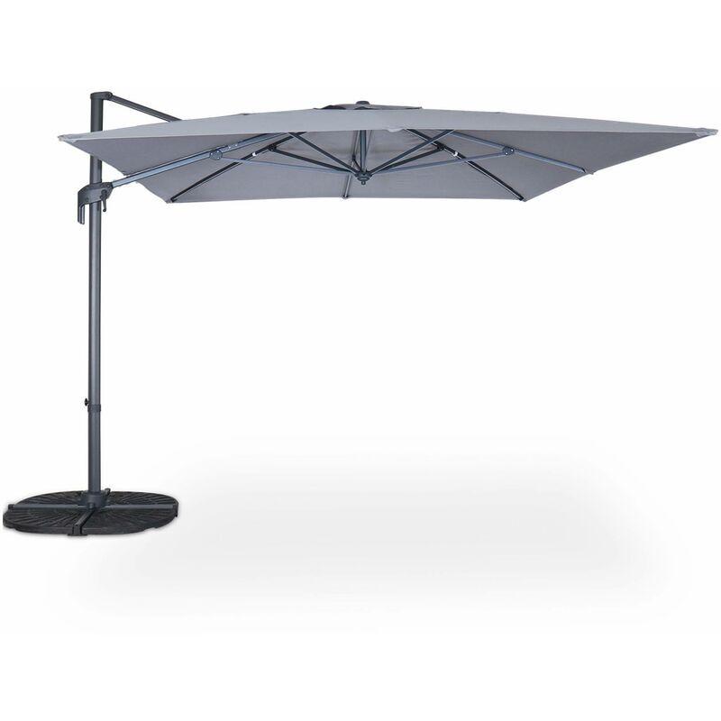 ALICE'S GARDEN Parasol déporté rectangulaire 3 x 4 m – Antibes – gris – parasol exporté,