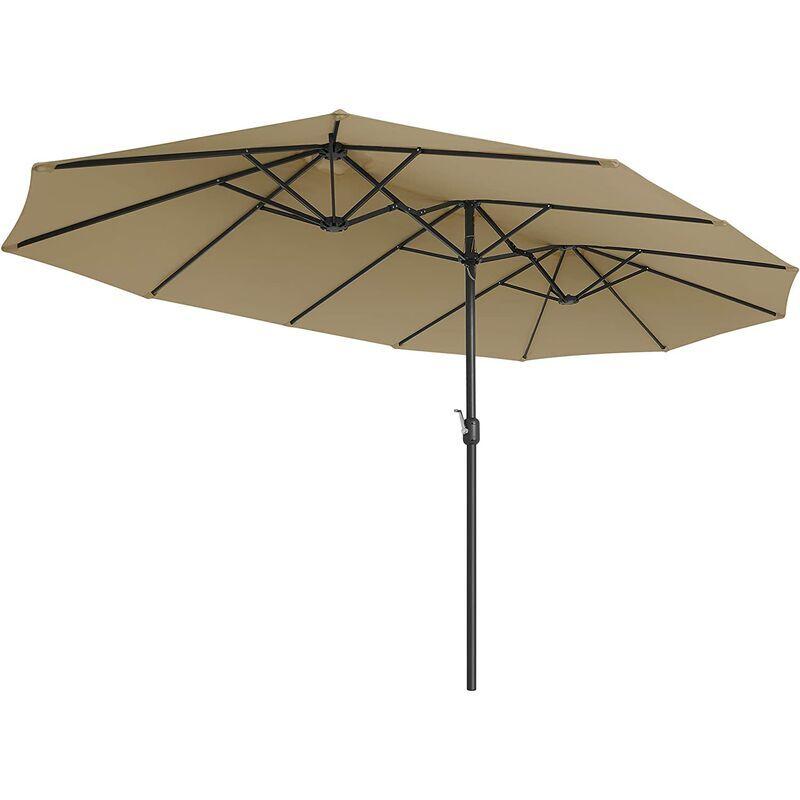 SONGMICS Parasol Double 460 x 270 cm, Ombrelle Extra Large pour terrasse, Protection UPF
