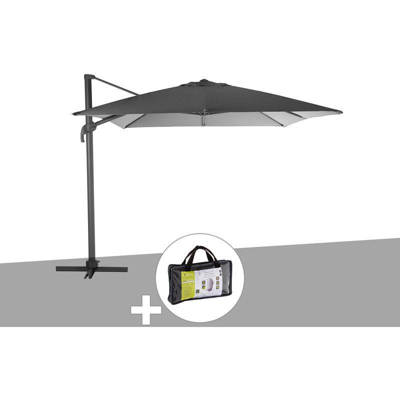 HESPERIDE Parasol déporté rectangle Elea 3 x 4,2 m Graphite/Ardoise avec housse de