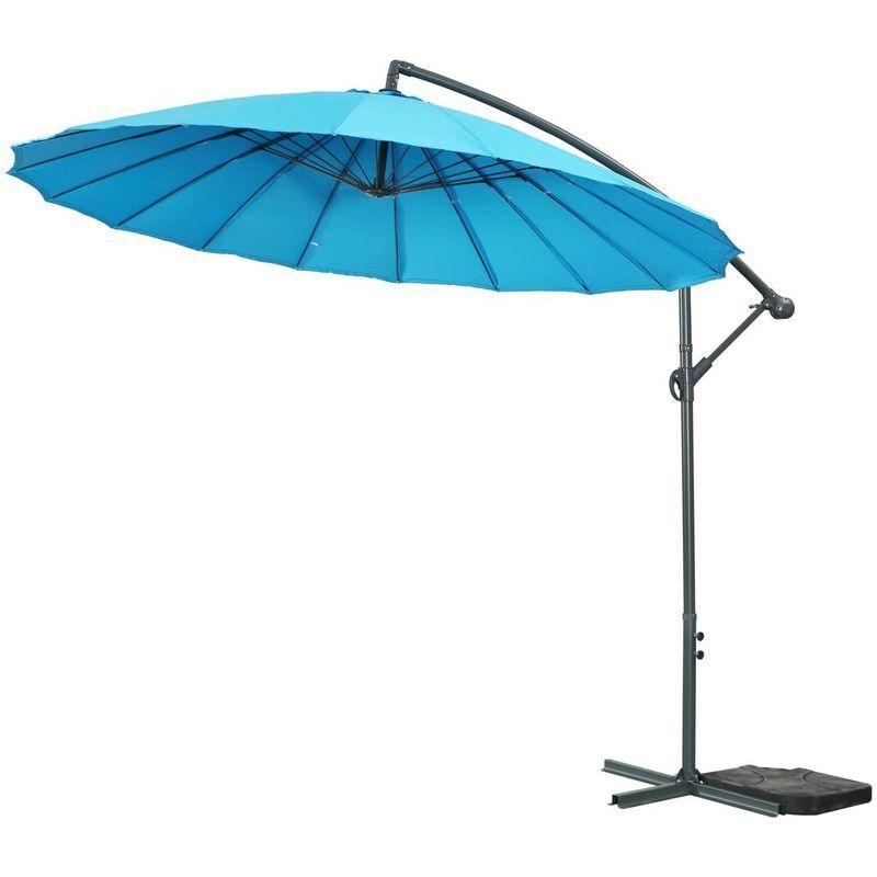 HABITAT ET JARDIN Parasol jardin déporté Alu 'Lili 3' - Style Japonais - Ø3m - Bleu