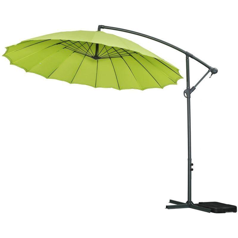 """HABITAT ET JARDIN Parasol jardin déporté Alu """"Lili 3"""" - Style Japonais - Ø3m - Vert"""