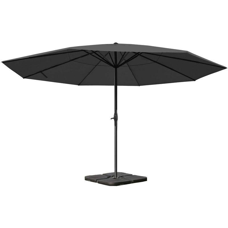 HHG - Parasol Meran Pro, parasol pour marché sans volants, Ø 5m polyester/alu