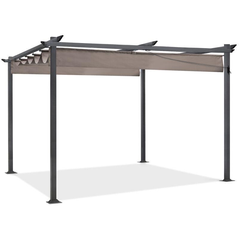 IDMARKET Pergola toit rétractable taupe 3x4m tonnelle 4 pieds