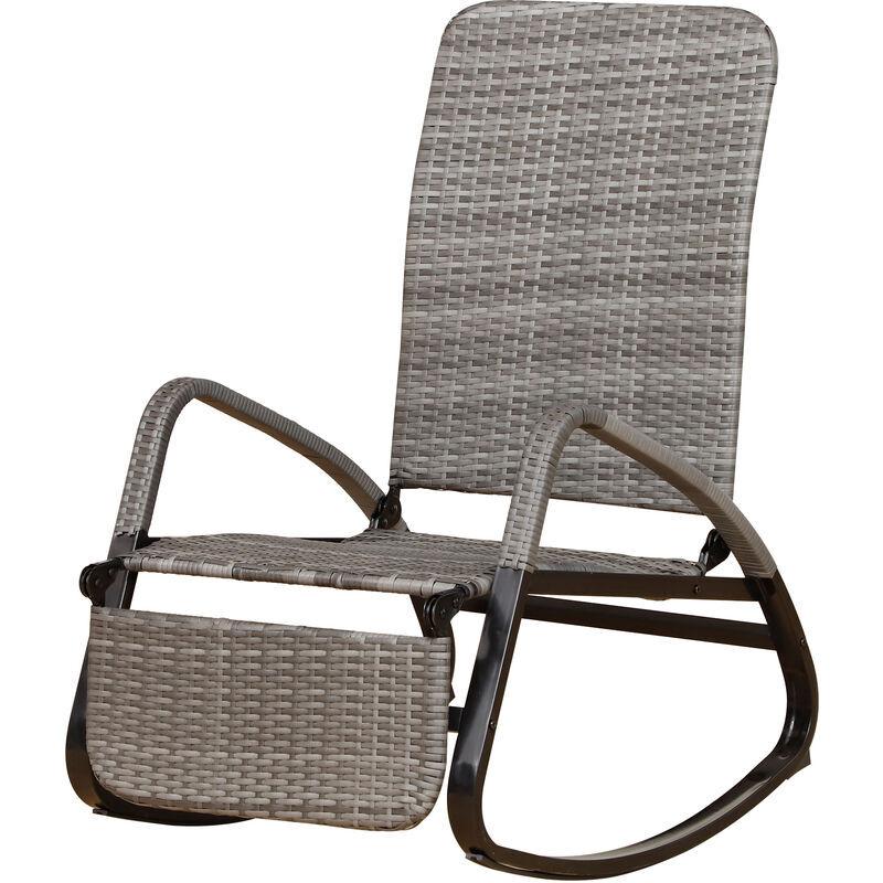 Outsunny Rocking chair fauteuil à bascule style cosy dossier repose-pied réglable résine